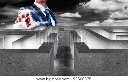 Businessman With Maze, Business Concept Of Decision Making