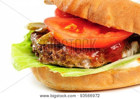 part of fresh realistic looking pork hamburger, closeup