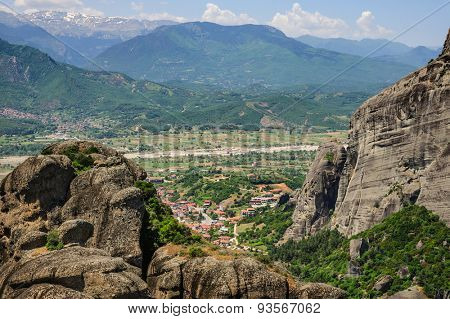 Kalabaka town bird view from the Meteora rocks, Greece
