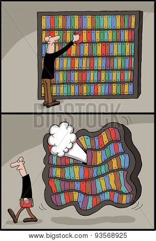 Conceptual cartoon of book library