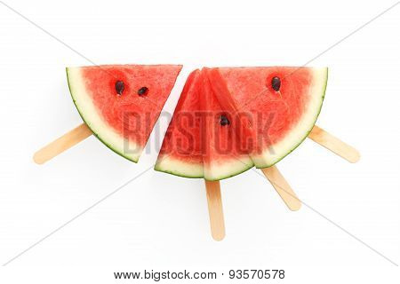 Watermelon Popsicle Yummy Fresh Summer Fruit Sweet Dessert White Background