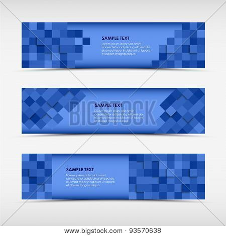 Abstract Horizontal Banners With Blue Squares