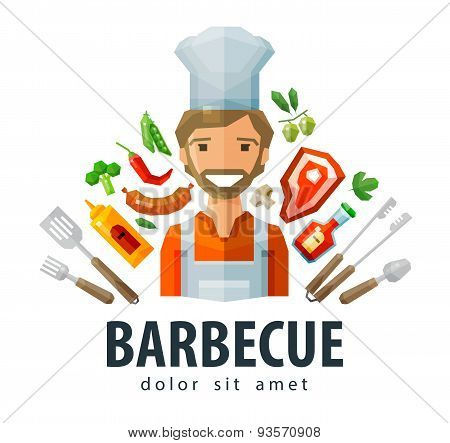 barbecue, grill vector logo design template. fresh food, chef or picnic icon. flat illustration