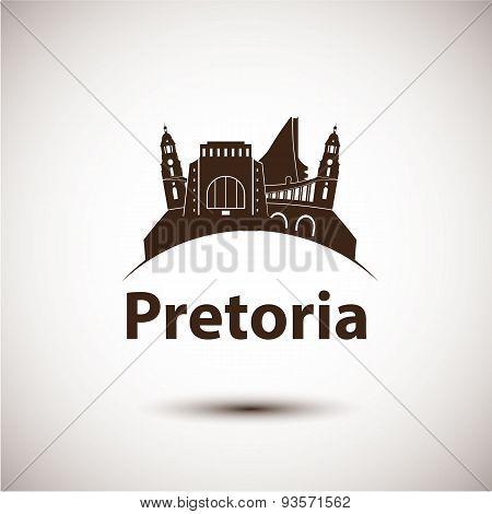 Pretoria South Africa city skyline silhouette.