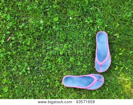 Summer Slippers Are On The Grass.