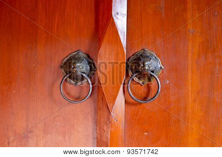 Old Chinese Door With Lion's Head Door Handles