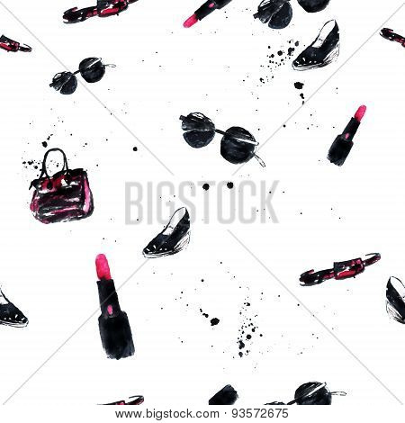Watercolor  Fashion Glamour Seamless Pattern With Bag, Lipstick, Glasses And Shoes. Artistic Vector