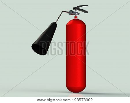 Red Fire Extinguisher With Black Pipe Small Powder Isolated
