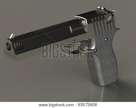 Iron Big Shiny Gun Barrel Ahead Isolated