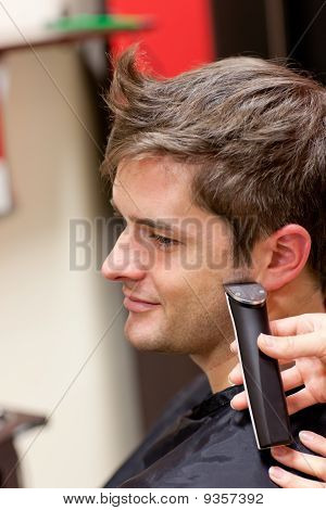 Bright Caucasian Man Being Shaved