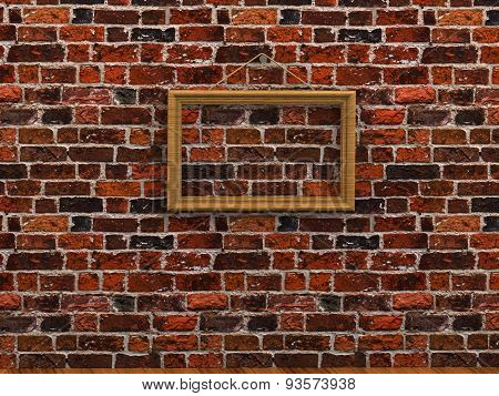 Empty Picture Frame Hanging On A Rope Brick Wall Wooden Floor