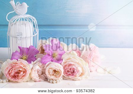 Roses And Clematis  Flowers