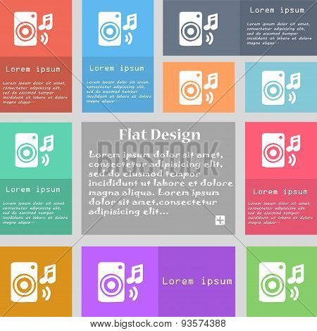Music Column, Disco, Music, Melody, Speaker Icon Sign. Set Of Multicolored Buttons With Space For Te
