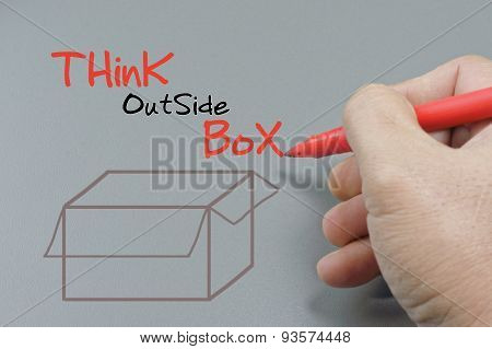 Hand Writing Think Outside Box - Business Concept