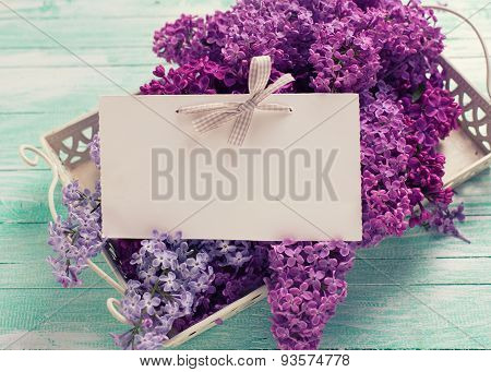 Fresh Splendid Lilac Flowers On Tray And Empty Tag