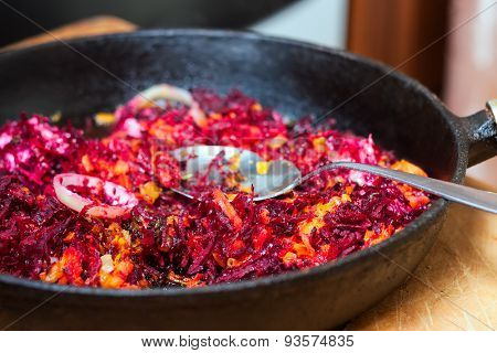 Fried Vegetables On A Frying Pan