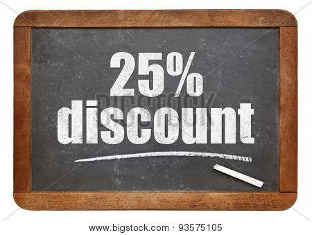 twenty five percent discount sign - white chalk text on an isolated  vintage slate blackboard