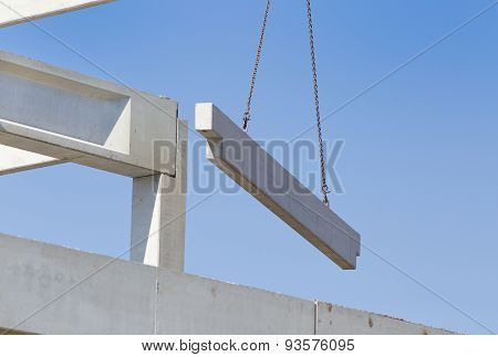 Concrete Beam On Crane Cables In The Sky