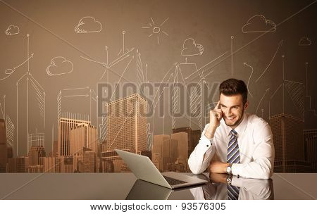 Businessman sitting at the black table with buildings and measurements on the background