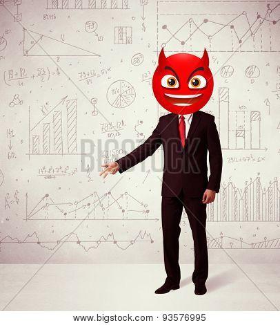 Funny businessman wears devil smiley face