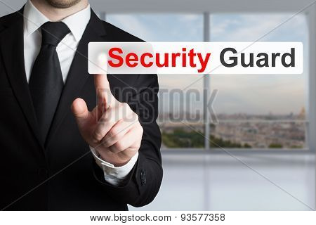 Businessman Pushing Flat Button Security Guard