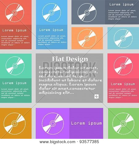 Cd, Dvd, Compact Disk, Blue Ray Icon Sign. Set Of Multicolored Buttons With Space For Text. Vector
