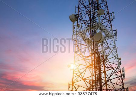 Satellite Dish Telecom Network At Sunset Communication Technolog