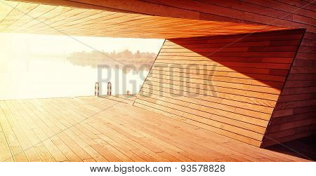 Wooden Construction Background, Shelter By The River.