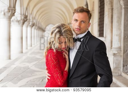 Elegant couple embracing