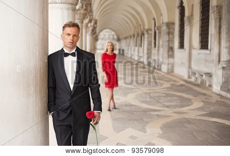 Stylish man waiting waiting for his date