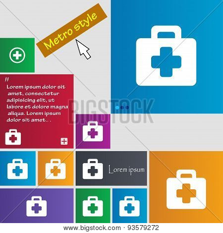 First Aid Kit Icon Sign. Buttons. Modern Interface Website Buttons With Cursor Pointer. Vector
