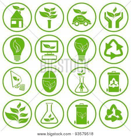 Set Of Sixteen Ecology Icons