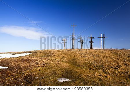 crosses on the hill. Belarus
