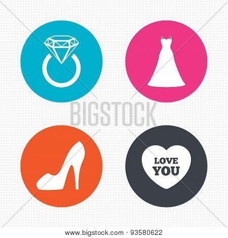 Wedding dress icon. Women's shoe symbol.