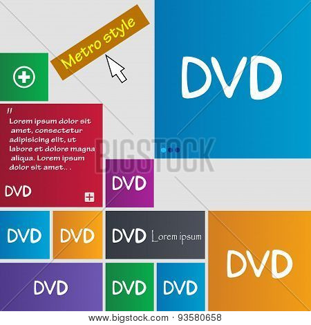 Dvd Icon Sign. Buttons. Modern Interface Website Buttons With Cursor Pointer. Vector