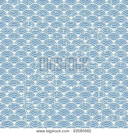 Seamless vintage blue Japanese style fish scale pattern background.
