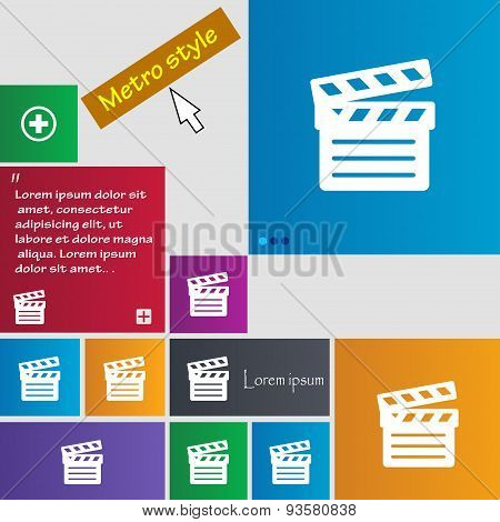 Cinema Clapper Icon Sign. Buttons. Modern Interface Website Buttons With Cursor Pointer. Vector