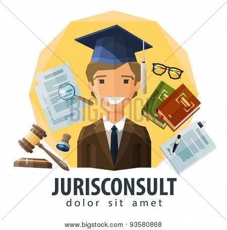 lawyer, attorney vector logo design template. jurist, legal expert, solicitor or jurisconsult icon.