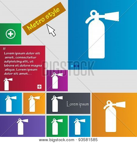 Fire Extinguisher Icon Sign. Buttons. Modern Interface Website Buttons With Cursor Pointer. Vector