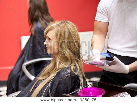 Blond Woman Dying Her Hair