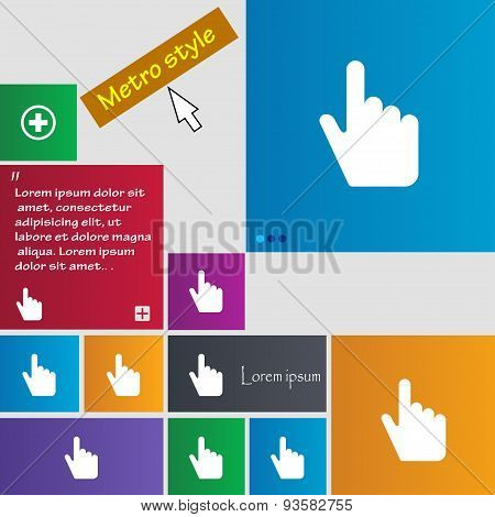 Cursor Icon Sign. Buttons. Modern Interface Website Buttons With Cursor Pointer. Vector