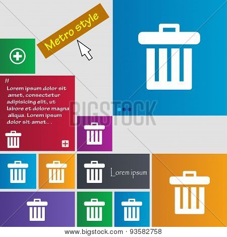 Recycle Bin Icon Sign. Buttons. Modern Interface Website Buttons With Cursor Pointer. Vector