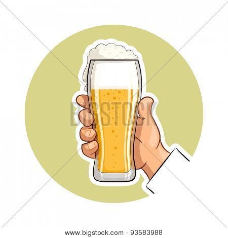 Glass of beer in hand. Eps10 vector illustration. Isolated on white background