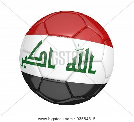 Soccer ball, or football, with the country flag of Iraq