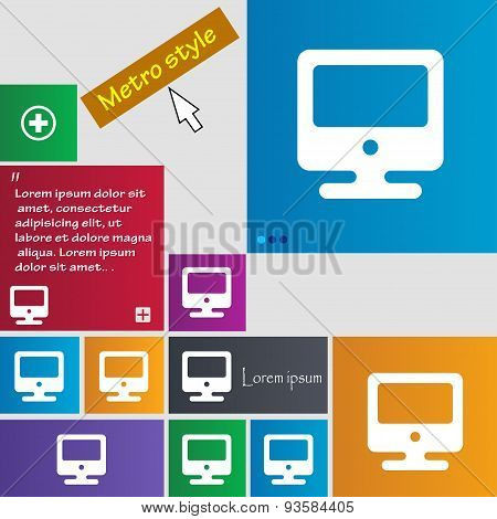 Monitor Icon Sign. Buttons. Modern Interface Website Buttons With Cursor Pointer. Vector