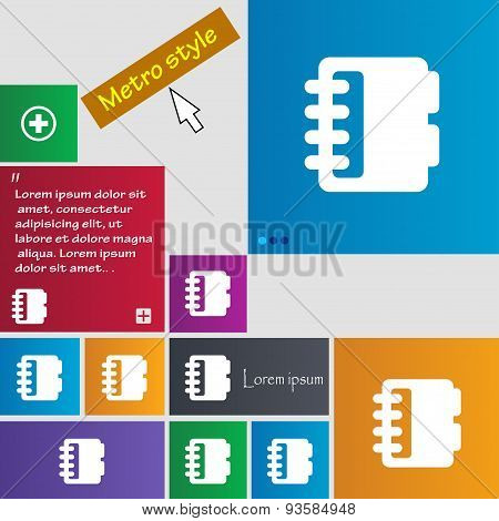Notepad, Calendar Icon Sign. Buttons. Modern Interface Website Buttons With Cursor Pointer. Vector