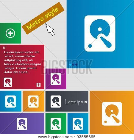 Hard Disk Icon Sign. Buttons. Modern Interface Website Buttons With Cursor Pointer. Vector