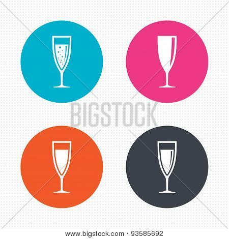 Champagne wine glasses signs. Alcohol drink.