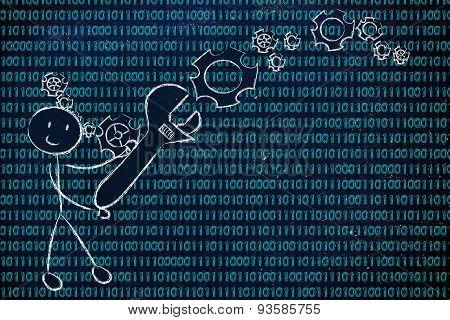 Man With Wrench Setting Up Binary Code, Information Technology Professions