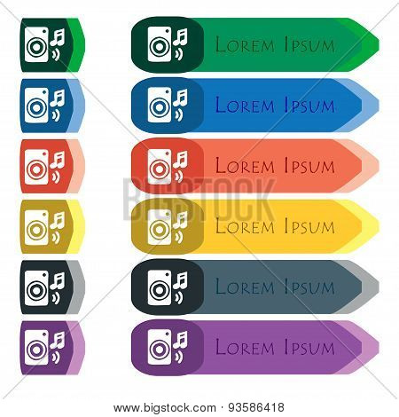 Music Column, Disco, Music, Melody, Speaker Icon Sign. Set Of Colorful, Bright Long Buttons With Add